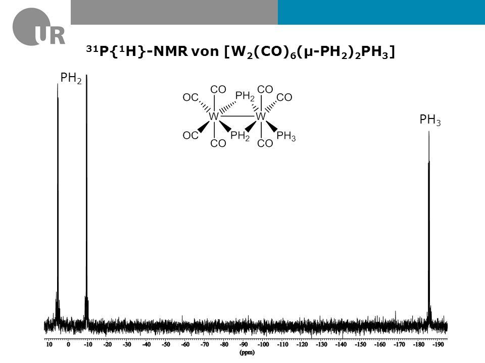 31P{1H}-NMR von [W2(CO)6(µ-PH2)2PH3]